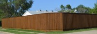 8' Board on Board with Double Trim and Retaining Wall- Walnut Stain Color