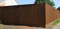 8' Board on Board with Double Trim and Standard Gate- Walnut Stain Color