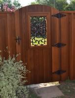 Custom 6' Arch Gate with Iron Insert- Clear Cedar- Classic Cedar Stain