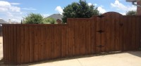 6' Board on Board, Double Trim, Custom Gate - Step & Level- Walnut Stain Color